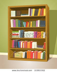 wooden bookcase books on shelves furniture stock vector 428198746