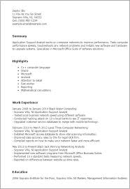 Resume Templates Application Support Analyst
