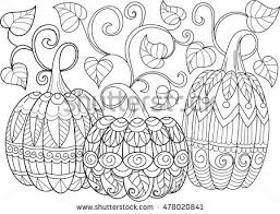 Three Doodle Pumpkins Sketch Cute Illustration Halloween Coloring Pages Isolated Vector