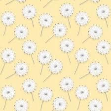 100 Flannel Flower Glass Yellow White Dandelions Fabric Henry Fluffy Etsy