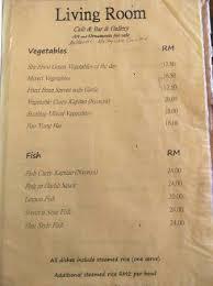 Living Room Cafe Bar & Gallery The veg menu section