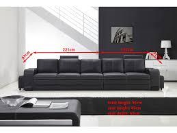 grand canapé droit en cuir pleine fleur fabio 5 places option lit co