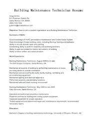 Building Maintenance Technician Resume