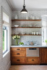 Open Shelving Kitchen Rustic With Industrial Pendant Light Range Hood White Subway Tile