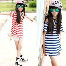 Online Shop Girls Chiffon Open Shoulder T Shirt Long Stripes Tee For Kids Teenage Fashion Tops Red Blue
