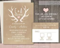 Deer Antlers Rustic Wedding Invitation Set Casual