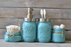 Beach Glass Bath Accessories by Turquoise Mason Jar Bathroom Set Everything Turquoise