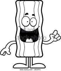A cartoon illustration of a bacon strip with an idea Stock Image