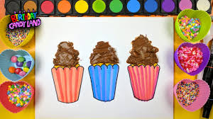 Learn To Color Children And Decorate 3 Cupcakes With REAL FROSTING Sprinkles Coloring Page