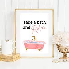 zitat typographie rosa badezimmer deko bad din a4 kunstdruck
