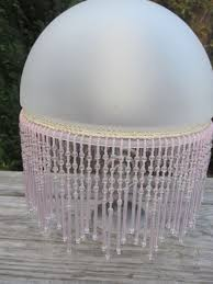 Diy Punched Tin Lamp Shade by Gorgeous Vintage Frosted Glass U0026 Beaded Fringe Light Lamp Shade