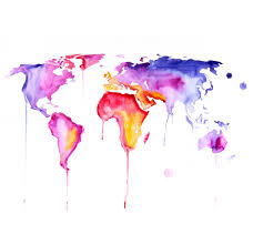 Original Watercolor Painting World Map 30x40 Abstract Modern Cool Within