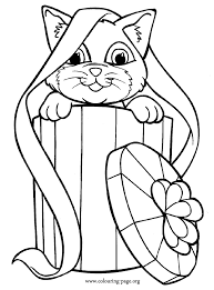 In This Beautiful Coloring Page The Cat Is Peeping Out From Inside A Gift Box