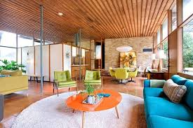 Fabulous Midcentury Modern Living Room With Original Brick Walls And Flooring From 1950s 600x399