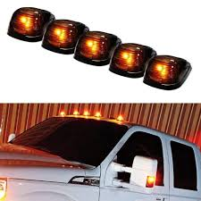 100 Truck Marker Lights 5pc Black Cab Smoked Lens Amber Or White LED Rooftop Lamps For SUV 4x4 5Piece Roof Running Light Set Powered By 5 5050SMD LED