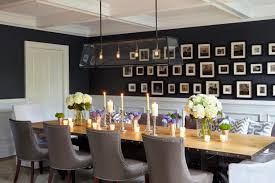 Contemporary Dining Room With Woodwork And Gallery Wall