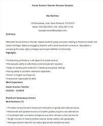 Examples Of Resumes For Teachers Printable Social Science Teacher Resume Sample 2016
