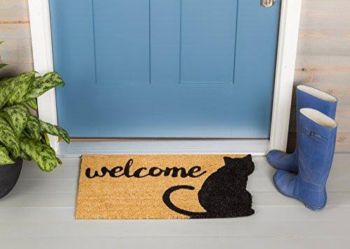 Evergreen Cat Welcome Shaped Coir Mat