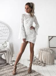 sheath neck long bell sleeves short ivory lace homecoming
