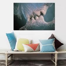 baise dans la chambre noir et blanc amour baiser peinture décorative simple décoration