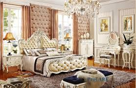 chambre royal de luxe européenne royal style blanc en bois massif sculpté à la