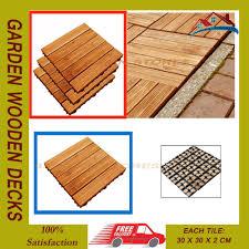 Runnen Floor Decking Outdoor Brown Stained by 108pc Garden Wooden Decks Slabs Decking Floor Interlocking Tiles