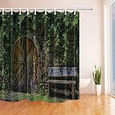 cdhbh rustikal vorhänge dusche für badezimmer stein mauer