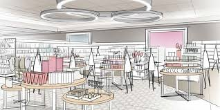 A Sketch Showing Targets Reimagined Beauty Jewlery And Accessories Display In The Houston Store