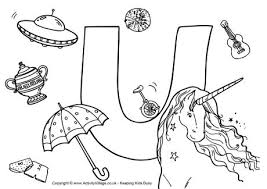 I Spy Alphabet Colouring Page U