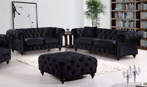 meridian furniture chesterfield 2pc traditional tufted black