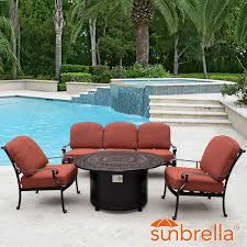 Patio Conversation Sets With Fire Pit by Villa Flora 4 Piece Cast Aluminum Fire Pit Outdoor Conversation