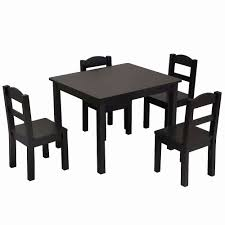 5PCS Children Play Table Chair Set Pine Wooden Kids Table,Dark Brown