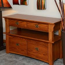 Mission Style Solid Oak Double Tier Lateral Filing Cabinet 47