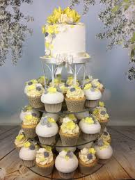 Lemon And Grey Cupcake Tower Wedding Cake