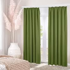 deconovo vorhänge fenstervorhang schlafzimmer sonnenschutz mit kräuselband 245x140 cm apfelgrün 2er set