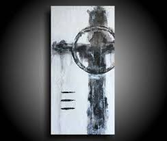 Large Abstract Cross Painting 20 X 10 Black White Religious Texture Encaustic Original Canvas Wall Art Christian