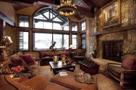 Living Room Country Rustic Decor With Brown Structure Stone Laminated Fireplace And Square Wood Coffee Table Also Leather Sofa