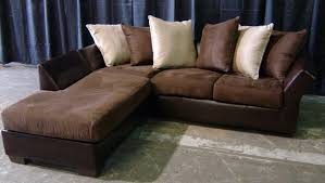 Furniture Furnishing L Shaped Brown Sofa With Cushions Also Rustic Style Of Concrete Flooring