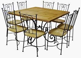 table carrée chêne et fer forgé 6 chaises bayonne