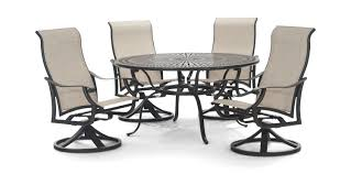 Montreux II 5 Piece Swivel Patio Dining Set   HOM Furniture Buy Outdoor Patio Fniture New Alinum Gray Frosted Glass 7piece Sunshine Lounge Dot Limited Scarsdale Sling Ding Chair Sl120 Darlee Monterey Swivel Rocker Wicker Sets Rattan Chairs Belle Escape Livingroom Hampton Bay Beville Piece Padded Agio Majorca With Inserted Woven Shop Havenside Home Plymouth 4piece Inoutdoor Nebraska Mart Replacement Material Chaircarepatio Slings