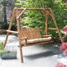 Patio Swings With Canopy by Outdoor U0026 Garden Fantastic Rustic Oak Log Wood Patio Swing With