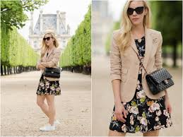 dress casual blush pink blazer floral print dress u0026 stan smith