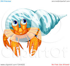 Halloween Hermit Crab Reef Safe by Clipart Of A Happy Orange Hermit Crab In A Blue Shell Royalty