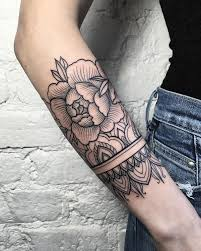 Flower With Cat Forearm Tattoo