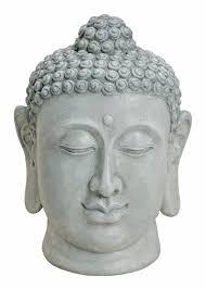 großer buddha kopf 50cm steinfigur garten deko figur skulptur feng shui