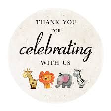 2 Inch Jungle Animals Thank You Stickers Safari Baby Shower Or Birthday Favor Sticker Labels 40Pack