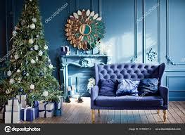 blau silbernes weihnachtsinterieur wohnzimmer mit blauen
