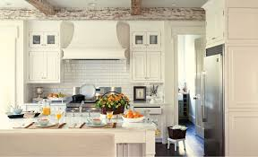 White Wellborn Cabinets And Oven With Chimney Plus Wooden Floor For Kitchen Decor Ideas