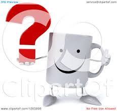 Clipart Of A 3d Happy Coffee Mug Holding Question Mark And Thumb Up