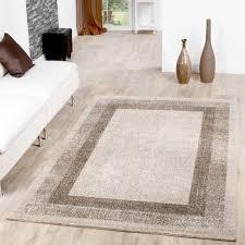 moderner teppich wohnzimmer velours teppiche bordüre creme